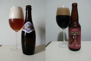 Cervejas degustadas em uma viagem utilizando as taças do hotel: Belgian Ale (Orval) e Russian Imperial Stout (Péché Mortel)